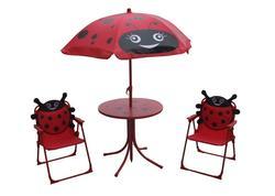 Strend Pro 802416 Set LEQ MELISENDA Mariquita, lienka, slnečník 105 cm, stôl 50 cm, 2 stoličky