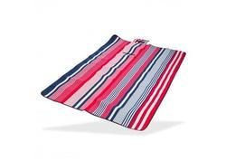 DEMA 93989D Plážová / pikniková deka 190x130 cm Acryl-Fleece, bielo-modro-červená