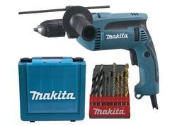 Makita HP1641K1X Elektronická príklepová vŕtačka 680W so sadou vrtákov 9 ks