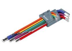 Extol Premium 8819315 L-kľúče imbusy predĺžené farebné, sada 9ks