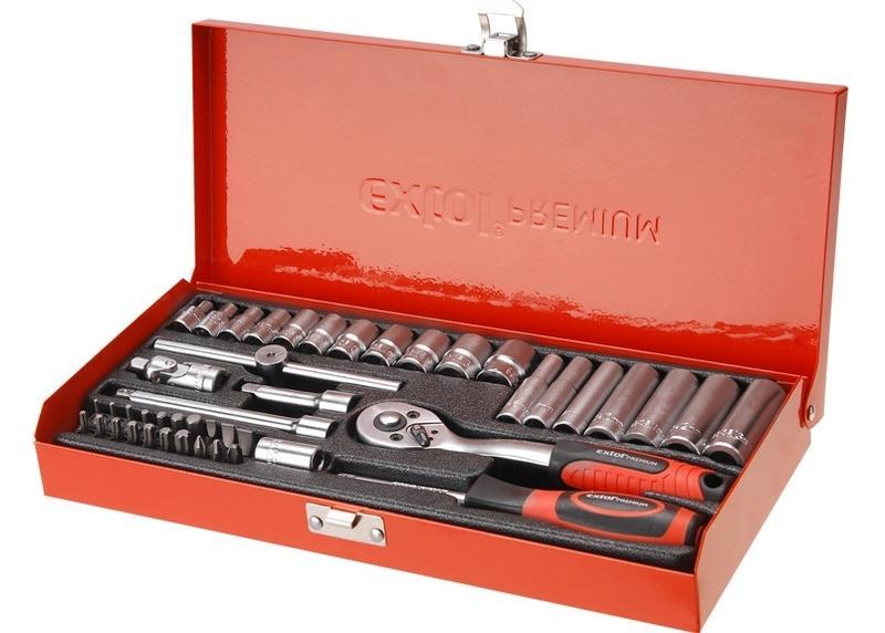 """Extol Premium  Kľúče nástrčné 1/4"""", sada 45ks, kovový kufor, CrV 8818360"""