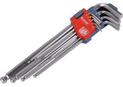 Extol Premium 8819312 Kľúče imbusové s guľôčkou predĺžené Cr-V, 9-dielna sada, 1,5-10mm