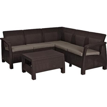 Strend Pro Allibert CORFU Set terasový taupe, stôl, rohová pohovka Brown/warm