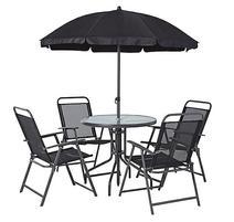 Strend Pro LETICIA GREY Set záhradny stôl 85x71 cm, 4x stolička 74x53x91 cm, dáždnik 180 cm