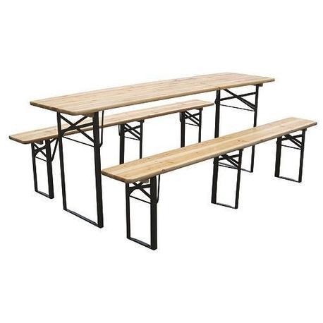 Strend Pro DORTMUND Medium3 Set pivný stôl 200x50x77 cm, 2x lavica 200x25x47 cm, drevo 27 mm
