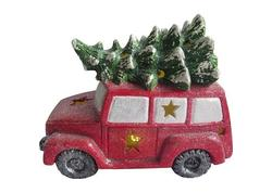 MagicHome Xecco 17523 Dekorácia minivan so stromčekom, magnesia, 35 cm, LED