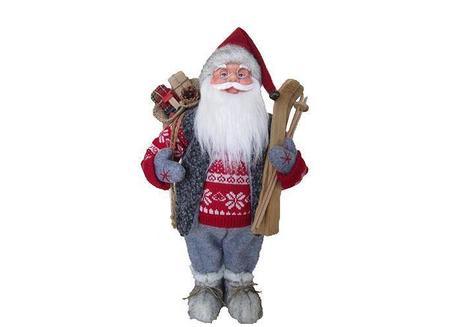 MagicHome Dekorácia Santa stojaci s lyžami 45 cm