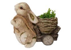 MagicHome Gecco 8123 Dekorácia Zajačik s vozíkom, magnesia, 39 cm