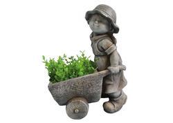 MagicHome Gecco 9067 Dekorácia Dievča s vozíkom, magnesia, 47 cm
