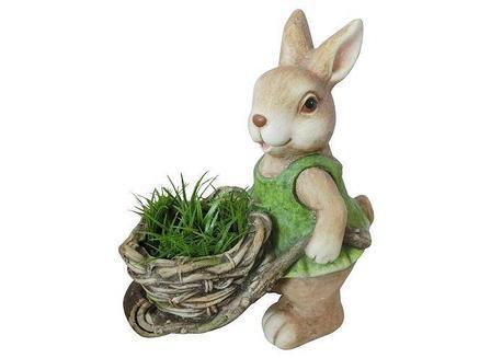 MagicHome Gecco 8067 Dekorácia Zajac s fúrikom, magnesia, 34 cm