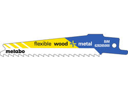 """Metabo 5 Pílových listov do chvostovej píly """"FLEXIBLE WOOD + METAL"""" 100 x 0,9 mm, 628265000"""