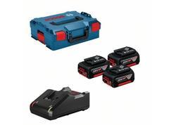 Bosch 0615990L3T 3× akumulátor GBA 18V 5.0Ah + GAL 18V-40, v kufri L-BOXX 136