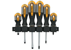 Strend Pro SDX72-106 Sada skrutkovačov, 6 dielna, s držiakom na stenu, ploché + Phillips