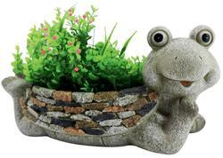 MagicHome Dekorácia Gecco 4004, Žaba s kvetináčom, magnesia, 35x16x17 cm