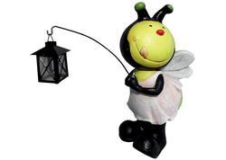 MagicHome Dekorácia Gecco 8620, Včielka s lampášikom, magnesia, 25x23x49 cm