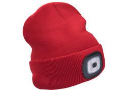 Extol Light 43198 Čiapka červená s čelovým svetlom, LED 4x45lm, 300mAh Li-ion