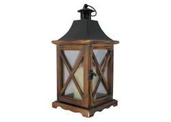 MagicHome 2170324 Lampáš WL8834, 16x16x35 cm, LED, 3xAAA, drevo