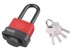 Extol Premium 8857640 Zámok visací vodeodolný poplastovaný predĺžený, 4 kľúče, 40mm