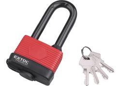 Extol Premium 8857665 Zámok visací vodeodolný poplastovaný predĺžený, 4 kľúče, 65mm